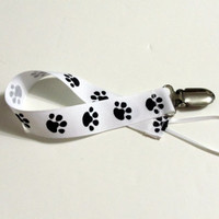 Paw Print White Ribbon Pacifier Clip Pacifier Holder
