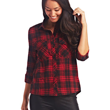 Plaid Flannel Button-Up | Wet Seal