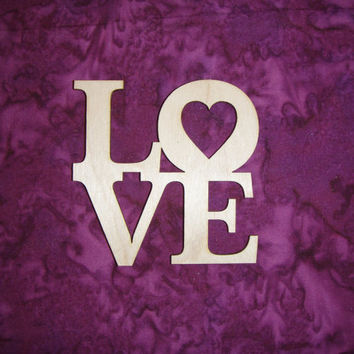 Love Heart Unfinished Wood Word Cut Out Connected Valentine Wooden Letters