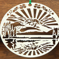 Wood Mountain ornament woodcut ornament of mountain reflected on Lake
