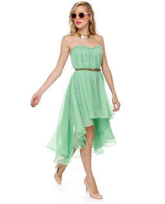 Blaque Label Dress - Mint Dress - High Low Dress - Strapless Dress - $128.00