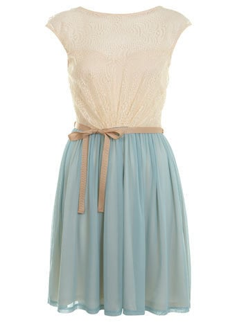 Duck Egg Lace Skater Dress - Dresses  - Apparel  - Miss Selfridge US