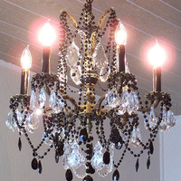 Vintage Jeweled Black French Empire Crystal Chandelier