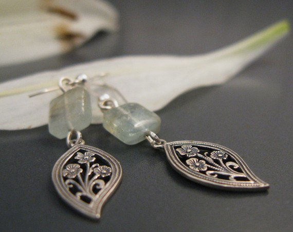 Aquamarine jewelry, Aquamarine earrings, oxidized silver drop earrings, dangle  earrings, simple everyday jewelry
