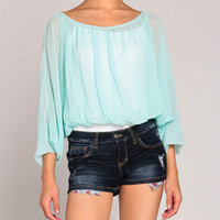 Chiffon Dolman Top in Mint