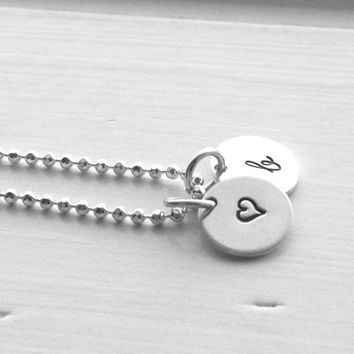 Initial Necklace, Sterling Silver Jewelry, Letter b Necklace, Heart Necklace, Hand Stamped Jewelry, b Pendant, Hand Stamped Initial