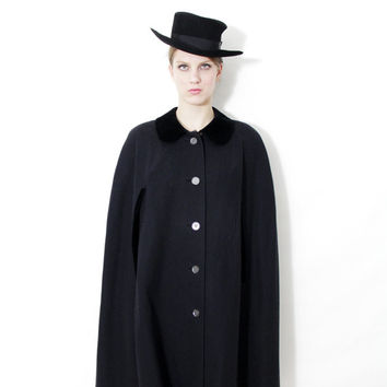 Vintage cape / Austrian Loden long black wool cape coat / opera cloak