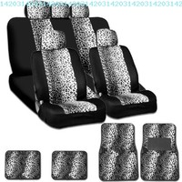 New and Unique YupbizAuto Brand Safari Snow Leopard Print Universal Size Car Truck SUV Seat Covers and Floor Mats Set High Quality Velour and Mesh Material Gift Set Smart Pocket Feature:Amazon:Automotive