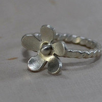 Sterling silver flower ring in full bloom for individual statement or stacking