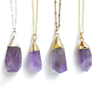 Amethyst Necklace, Raw Large Amethyst Necklace, Gold or Silver Dipped Amethyst Crystal Pendant, February Birthstone Jewelry