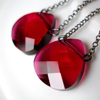Ruby Red Swarovski Earrings Swarovski Briolette Oxidized Sterling Silver July Birthstone