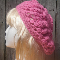 Crochet hat, happy heart bublegum pink hat, ready to ship, free USA SHIPPING!