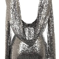 Luxury Drip Dress | Long-Sleeve Silver Sequin Cowl Back Dress | RicketyRack.com
