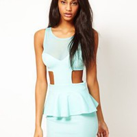 Oh My Love Jersey Peplum Dress With Mesh Detail at asos.com