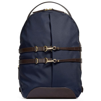 Navy & Brown Tanned Leather Canvas Backpack - Default Title