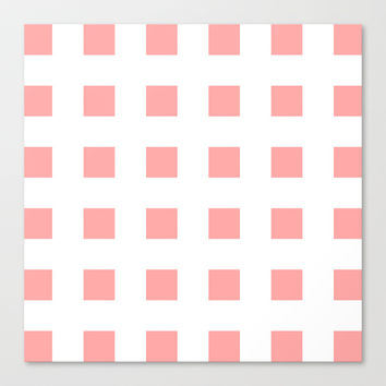 Coral Pink Cross Squares Stretched Canvas by BeautifulHomes | Society6