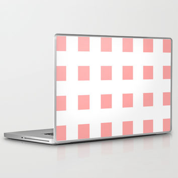 Coral Pink Cross Squares Laptop & iPad Skin by BeautifulHomes | Society6