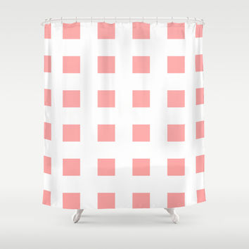Coral Pink Cross Squares Shower Curtain by BeautifulHomes | Society6