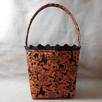 Adorable Orange And Black Halloween Themed Fabric Basket With Handle