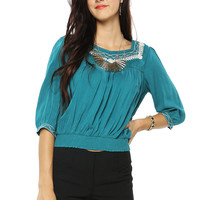 Papaya Clothing Online :: embroidery waist banded top