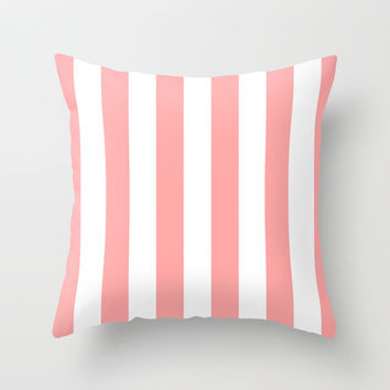Coral Pink Stripe Vertical Throw Pillow by BeautifulHomes | Society6