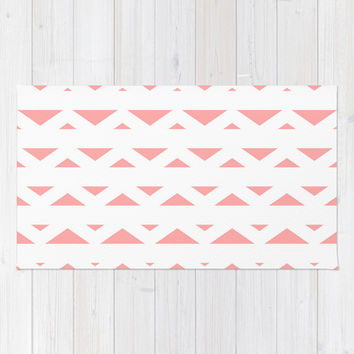 Coral Pink Tribal Triangles Area & Throw Rug by BeautifulHomes | Society6