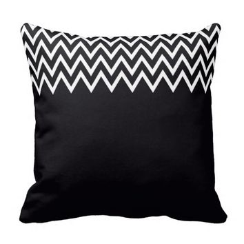 Classic Zigzag - Black And Gray Pillow