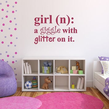 Wall Decal Girl Definition Giggle with Glitter on it Dictionary