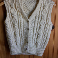 Vintage Knit Sweater Vest // Beige // Small/Medium