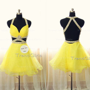 Yellow Backless Short Homecoming Dresses, Prom Dresses 2014, Dress For Prom, Prom Dress, Backless Prom Dress