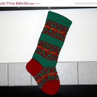 Traditional Hand Knitted Christmas Stocking, Forest Green cuff, Cherry Red heel and toe, Red and Green Striped Stocking, can be personalized