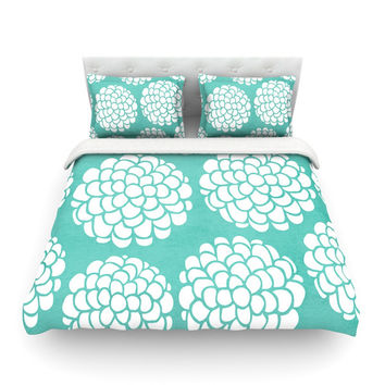 "Pom Graphic Design ""Hydrangea's Blossoms"" Teal Circles Cotton Duvet Cover"