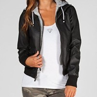FULL TILT Fleece Hooded Womens Faux Leather Jacket