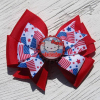 FREE SHIPPING Patriotic Hello Kitty Pinwheel Hair Bow Hello Kitty Bottle Cap Red American Flags Fourth of July