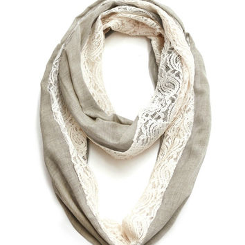 Cozy by LuLu - Linen and Lace Infinity Scarf