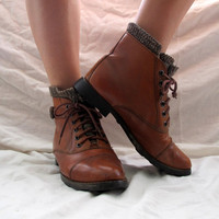 Lace Up Roper Boots Ankle Wool Lined