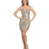 Gold Sequin & Jewel Illusion Bodycon Dress Homecoming 2014