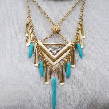 Teal & Gold Multi-Layered Necklace - Lotus Boutique