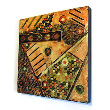 Textured Abstract Painting in oranges, yellow, brown and olive green, geometric art, mixed media…