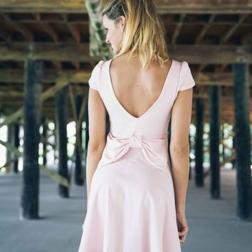 Sugar and Spice Pink Dress with Bow Back - Lotus Boutique