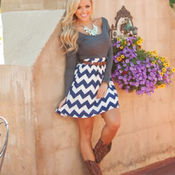 Bottoms Up Belted Chevron Dress Charcoal