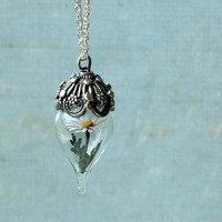 Tiny Glass Terrarium Necklace with White Daisy Flower