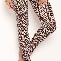 Blurred Tribal Chevron Print Leggings