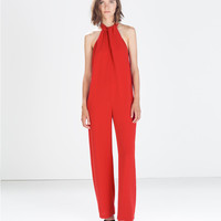 Jumpsuit with bow at the back