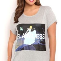 Plus Size Short Sleeve Drapey Tee with Cinderella Flawless Screen