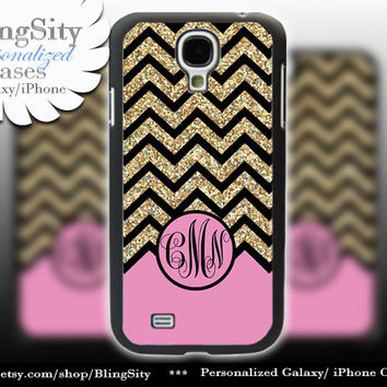 Pink Gold Sparkle Monogram Galaxy S4 case Galaxy S5 Case Note 3 Case S3 Note 2 Cover Not Actual Glitter Black Chevron Zig Zag Personalized