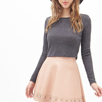 Scalloped Faux Leather Skirt