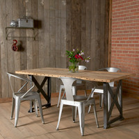 "Modern Industrial Dining Table and ""x"" styled factory steel base. (72"" x 36"" x 30"") free shipping special"
