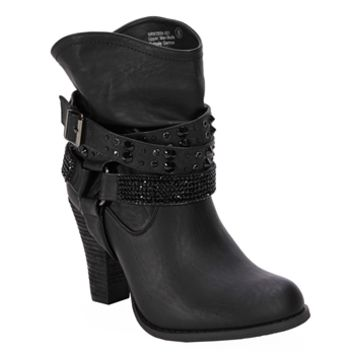 Not Rated Double Dip Short Strappy Stud Boot at Von Maur