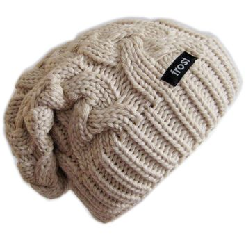 Frost Hats Winter Hat for Women BEIGE Slouchy Beanie Cable Hat Knitted Winter Hat Frost Hats One Size Beige:Amazon:Clothing